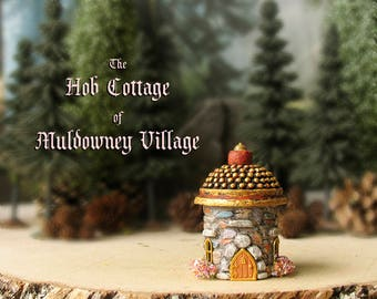 The Hob Cottage of Muldowney Village - Handcrafted Miniature Stone House - Gold Tiled Roof, Arched Door and Blooming Flower Boxes
