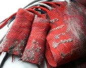 Oversized Felted Scarf with Wrist Warmers - Red and Grey - RESERVED