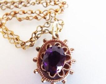 ON SALE Lovely Vintage Amethyst Glass & Brass Pendant Necklace
