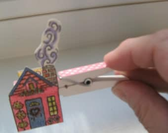 Clothespin Puppet, Finger Puppet, House Puppet, Mouse in House, Pink House, Miniature Painting, Greeting Card, New Home, Imaginative Play