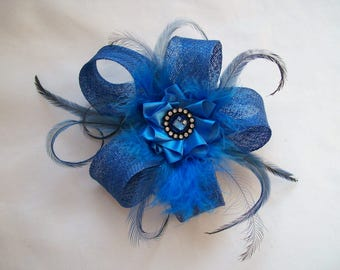 Sapphire Royal Denim Blue Sinamay Loop Feather & Crystal Mini Fascinator Hair Clip Wedding Headpiece- Ready Made