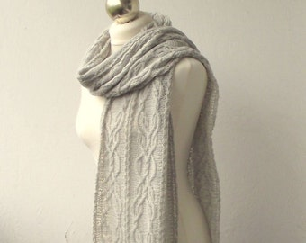 Light Grey hand knitted  long scarf with cable pattern, knitted alpaca and wool scarf SPRING SALE 15%OFF