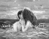 Salty Kisses Art Print couple kissing in water, black and white, sexy lovers, swimming, kissing, wall art, skinny dipping images, Wade art