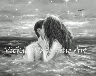 Couple Kissing Art Print ocean water, black and white art, sexy lovers, midnight swim naked, skinny dipping, girl in the sea, Wade art