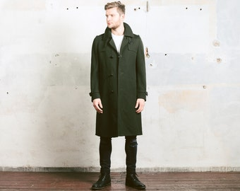 Mens GABRADINE Coat . Winter Overcoat Vintage 70s Forest Green Classic Belted Man WINTER Long Jacket Topcoat Outerwear . sz Large L