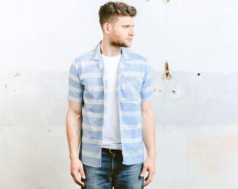 Mens Striped Shirt . Vintage 70s Beach Shirt Blue Pattern Shirt Printed Button Down Short Sleeve Summer Top . size Medium