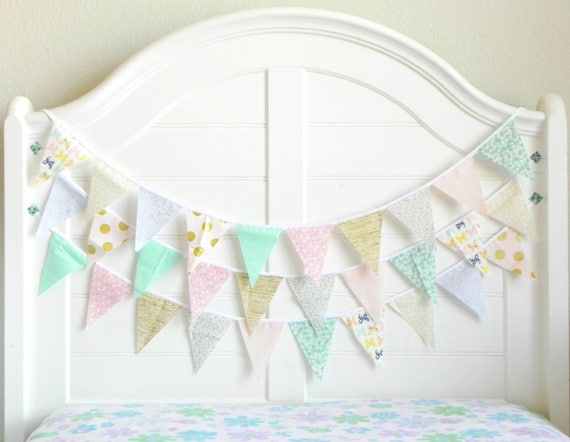 Pink Mint and Gold Bunting Garland