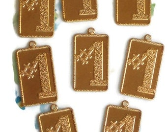 Vintage #1 charms,Gold Plated #1 Charms,gold Pendant,Number One charm,Winner charm. champion charm,Rectangle charm,Lot Badge Event #98