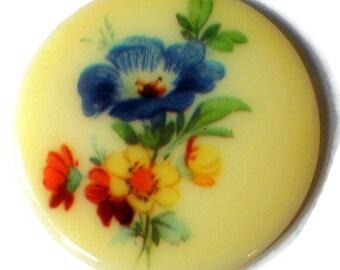 35mm round cabochon,Vintage Cabochon, floral Cabochon,Bouquet cabochons,Flowers Cabochon,Limoges cabochon, 35mm NOS Glass N1383
