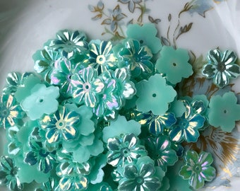 Shabby Chic Beads,Vintage Flowers Beads,Aurora Borealis Flowers,AB Beads,Flower Cabochons, 13mm Cabochons,Floral Spacers,Flat Back,#1720E