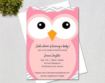 Owl Baby Shower Invitation, Big Pink Owl Printable Baby Shower Invitation, Printable Digital File, 3224