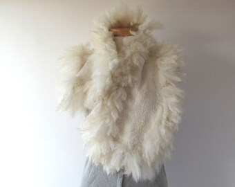 Alpaca Fur collar Curly Felted collar White felt collar  Alpaca wool collar  Fur scarf  Pure Wool Fleece real fur scarf