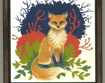 Mounted print wood art- Fox