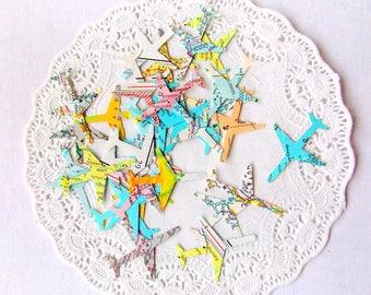 Vintage Atlas Airplane Confetti / 250 Pieces / 25% Discount / Wedding Decor / Table Confetti