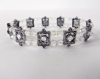 Bracelet Victorian Style Stretch Bracelet in Antique Silver and Crystals