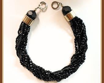 Black Torsade Choker, Signed Les Bernard, Formal, Glass Faceted Beads, 12 Strands, Vintage 1980's