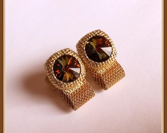 Gold Tone Mesh Cuff Links, Rivoli Glass Stone, Watermelon, Unisex, Vintage 1960's