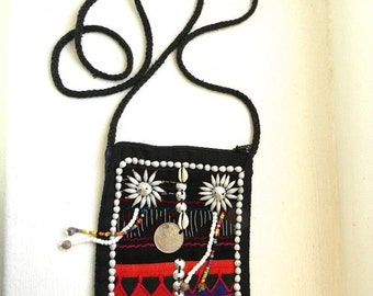 20% OFF SALE vintage. Thin Embroidered Black Cotton Bag // Ethnic Handmade Bag // VEGAN