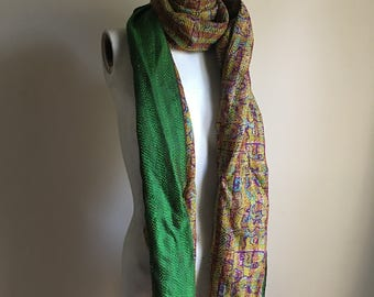 Hand Stitched Silk Long Scarf • Colorful Abstract Print Scarf • Necktie • Neck Scarf