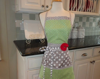 "Spring Green with Gray Dot - Cute for Valentines and  Year Round-  ""Barbie Style Pockets & More""  Women's Apron - 4RetroSisters"