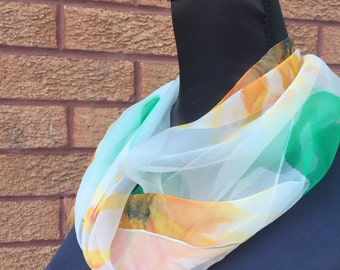 Sunflower Hand Painted Silk Chiffon Scarf by Julie Riisnaes