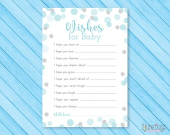 Blue and Silver Wishes for Baby Activity - Glitter Dots Baby Shower Well Wishes for Baby Cards - Boy Baby Shower, PRiNTABLE INSTANT DOWNlOAD