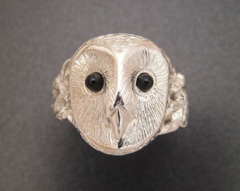 Silver Barn Owl Ring