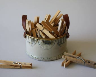 Ceramic Basket, Ceramic bowl, Ceramic Bowl with Handles, Rustic Pottery, Housewarming Gift, Basket with Leather Handles
