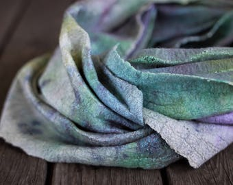 Soft felted scarf hooded scarf women scarf infinity scarf merino wool scarf silk scarf circle scarf colorful scarf winter scarf silk cowl