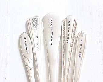 Herb Garden Markers 5 Small Herb Marker Seedling Stakes Recycled Vintage Silverware Garden Markers - Ready to Ship Gifts for Gardeners