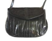 Vintage Eel Skin Purse / Shiney Black Eel Skin bag