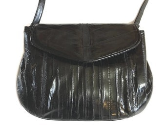 Vintage Eel Skin Purse / Shiney Black Eel Skin bag