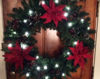 "Large Christmas Wreath, 36"" Poinsettia Delight  Christmas Timer Battery Operated Wreath, Large Door Wreath, Large Christmas Wreath"