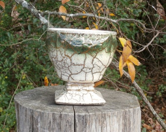 Green, White, and Gold Crackle Planter, McCoy 24 K 449 Footed Nice Side Vintage Flower Pot or Vase