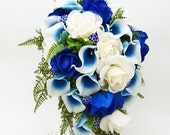 Winter Sale Cascade Bridal Bouquet Blue Picasso Callas Real Touch White Royal Blue Roses, Blue Rhinestones - Customize for your Colors