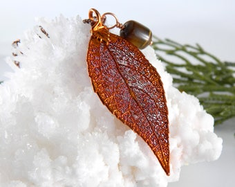 Copper Dipped Laurel Leaf Necklace on 30 inch chain
