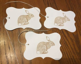 Adorable Spring Easter Cottontail Bunny Rabbit hang tags- set of 3