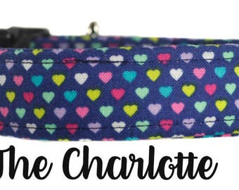 """Colorful Navy Hearts Dog Collar """"The Charlotte"""""""
