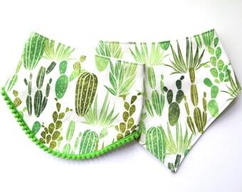 Cactus Bibs - Bibdana - Bandana Style Drool Bib - Baby Gifts - Boho Baby - Summer Style - Southwest Desert Style