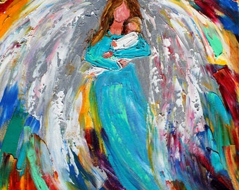 Angel and babe abstract painting original oil on canvas palette knife 12x16 impressionism fine art by Karen Tarlton
