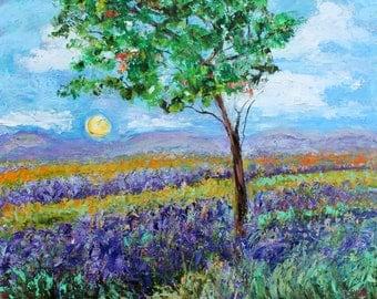 Original oil painting French Lavender Morning Light landscape palette knife impressionism on canvas 24x20 fine art by Karen Tarlton
