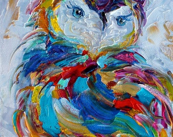 Owl Whimsy painting original oil abstract impressionism fine art impasto on canvas by Karen Tarlton