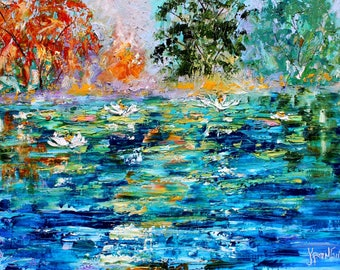 Lily Pond Symphony of Spring painting in oil landscape palette knife impressionism on canvas 16x20 fine art by Karen Tarlton