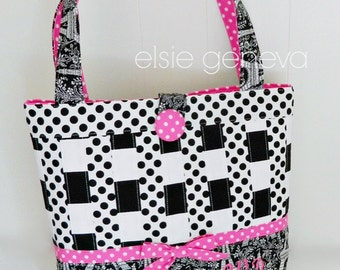 Large Tote Bag Purse or Choose Any Fabric French Eiffel Tower Black and Pink Dots - Personalized Option - Made to Order - Design Your Own