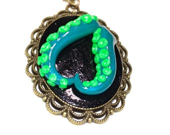 Tentacle cameo necklace. Octopus necklace. green, peacock blue, black, multi color. Gifts for her. heart necklace
