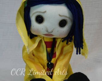 Made to order Coraline Button Eye Inspired Creepy cute  Handmade Art doll cloth collectable Gothic rag doll button key necklace