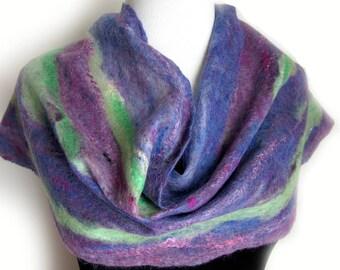 Alpaca and Wool Felt Scarf - Artichoke - Handcrafted Art Scarf - Purple and Green Scarves - Cobweb