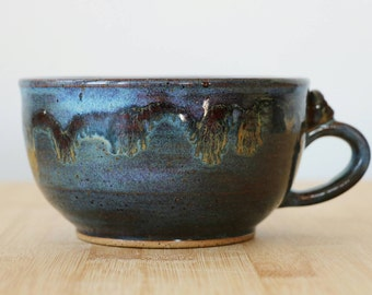 Cappuccino / wide latte style cup in Blue Swirl Nebulae- ready to ship