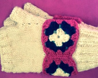 FreeHand Fingerless Mitts with Granny Square Wristband Elizabeth Style