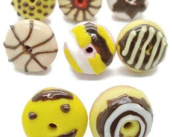 20 Donuts Miniature Polymer Clay Foods Supply for Beaded Jewelry and Dollhouse Collection, assorted